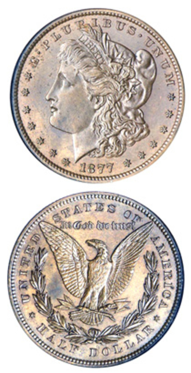 This 1877 pattern half dollar is very similar to the 1878 Morgan dollar. (Image courtesy Stack's Bowers)