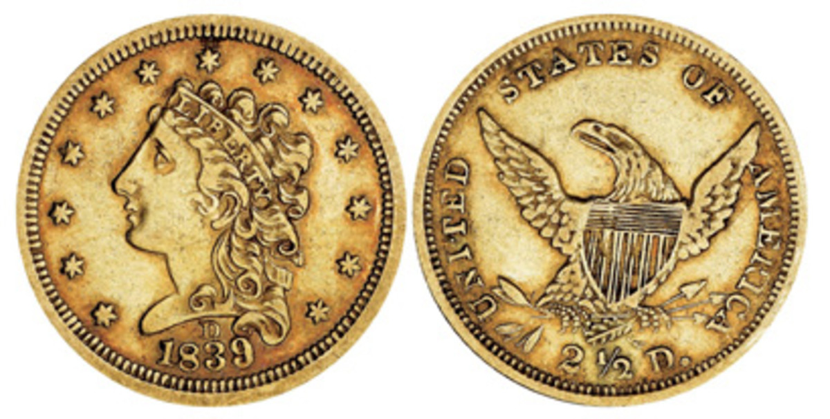 Quarter eagles were first minted at Dahlonega in 1839. The designer of the coin was William Kneass.