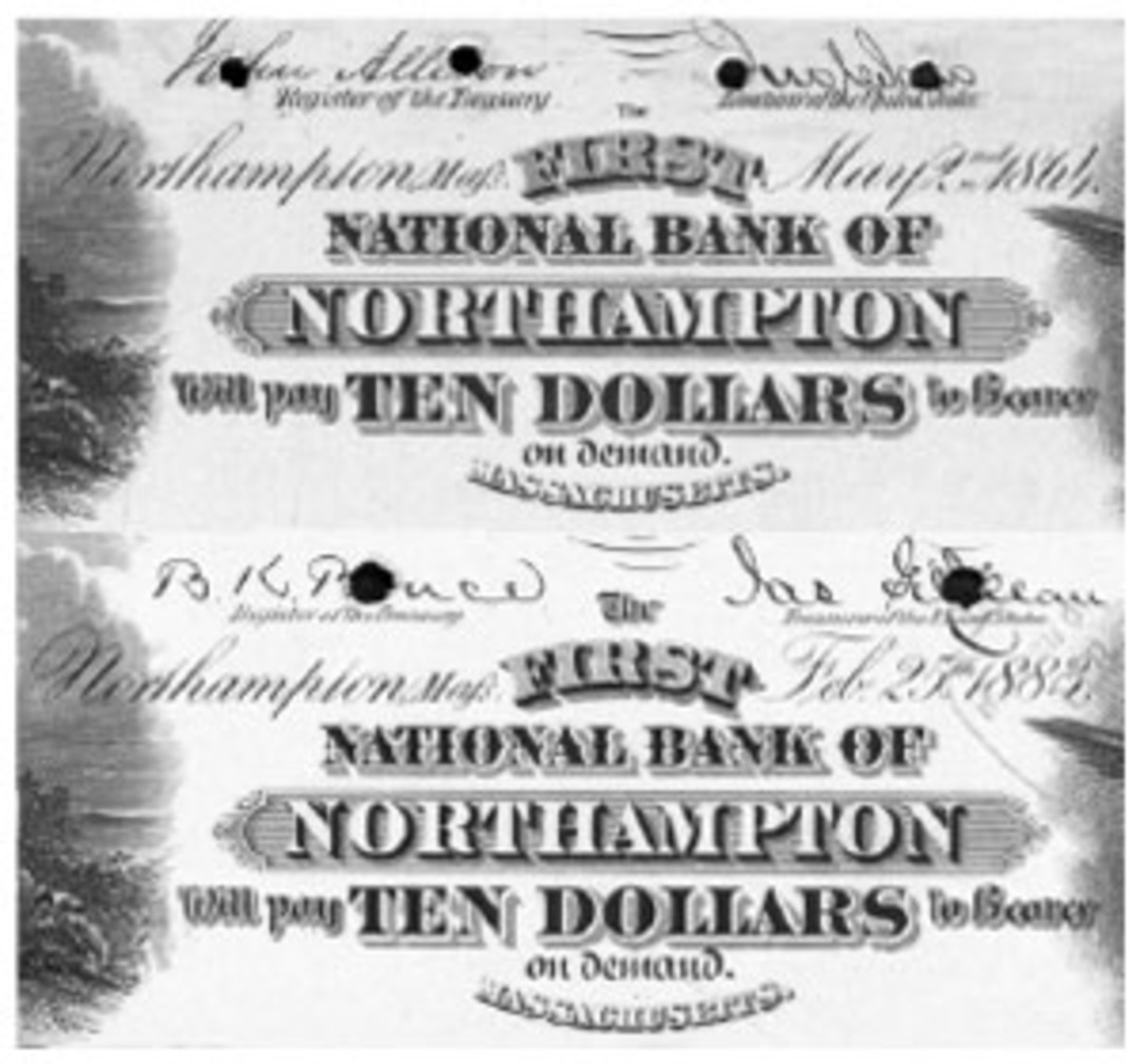 """Mafs"" was carried over from the Orig/1875 to the 1882 10-10-10-20 plate for this Northhampton bank because the same roll was used to lay-in the postal location on both."
