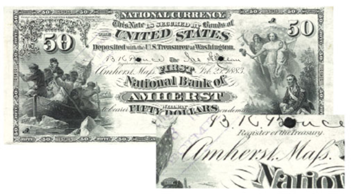 "The long ""s"" found its way onto Massachusetts $50 and $100 notes, and even was used as late as the Series of 1882 as revealed by the Series of 1882 proof for this Amherst bank."