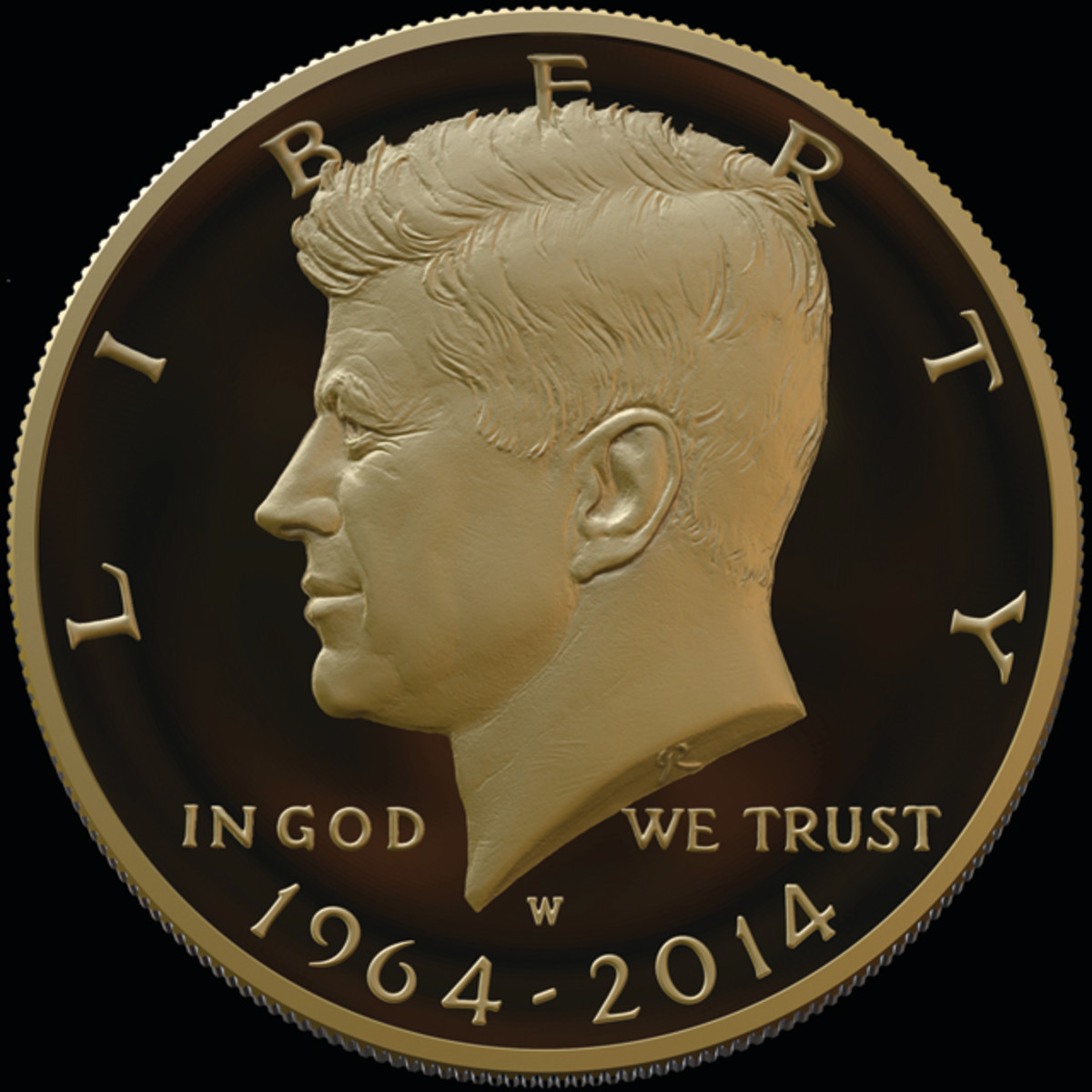 Obverse of the dual-dated (1964-2014) gold 2014 Kennedy half dollar