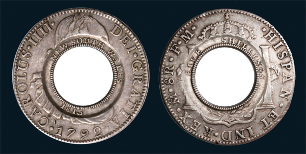 A Holey Dollar will be auctioned in July by Noble Numismatics.
