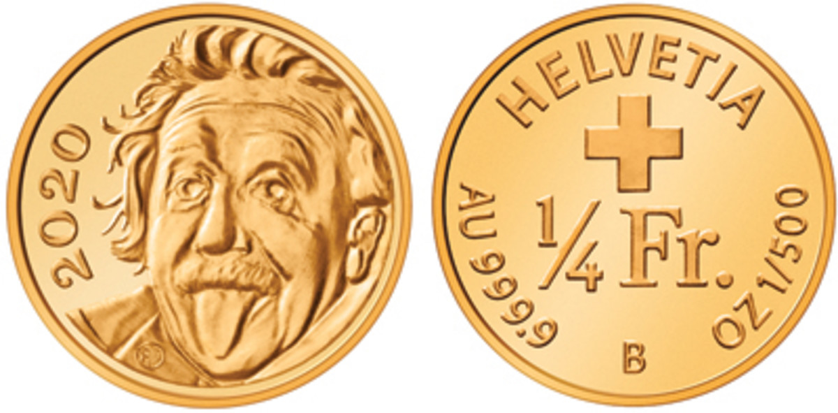 The tiny Einstein coin developed and struck by SwissMint measures just shy of 3mm in diameter and requires heavy magnification to view in detail. It set the world record for smallest coin. (Images courtesy SwissMint.)