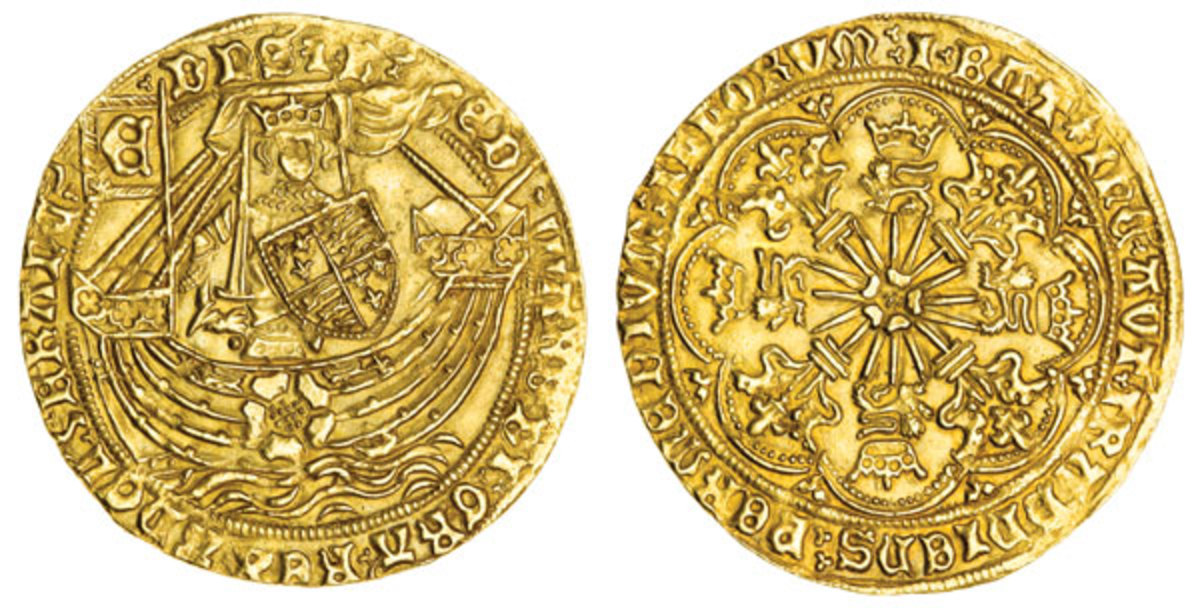 Ryal or rose-noble of Edward IV's first reign, Tower Mint (S-1950). French claim stands in the legend. Image courtesy and © Spink London.