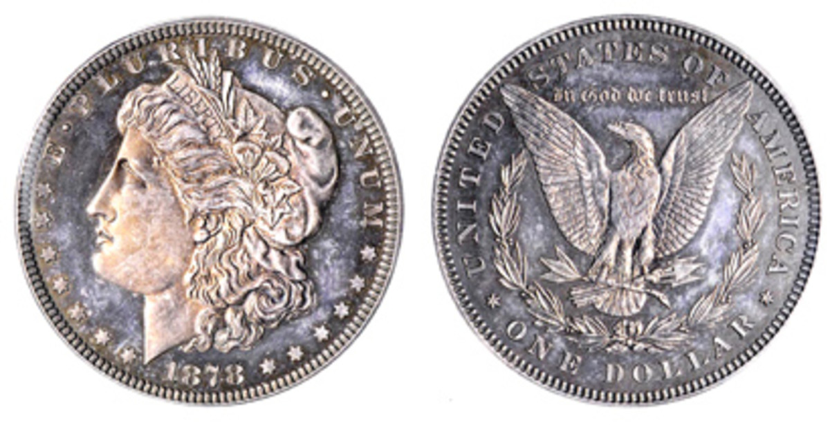 The first Morgan dollar pattern, struck in December 1877. (Image courtesy Stack's Bowers)