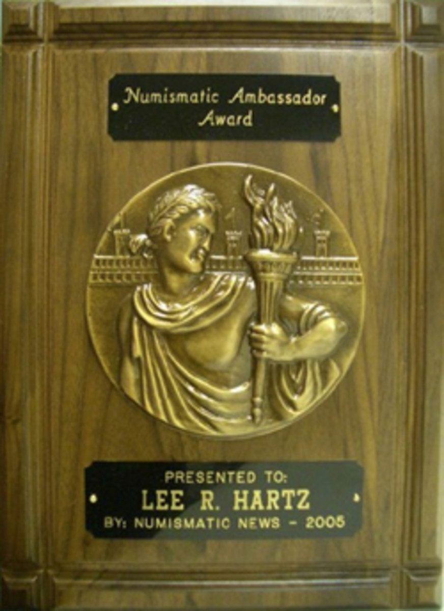 In 2005, Milwaukee Numismatic Society member Lee R. Hartz received the Numismatic Ambassador Award. (Image courtesy www.milwaukeenumismaticsociety.com)