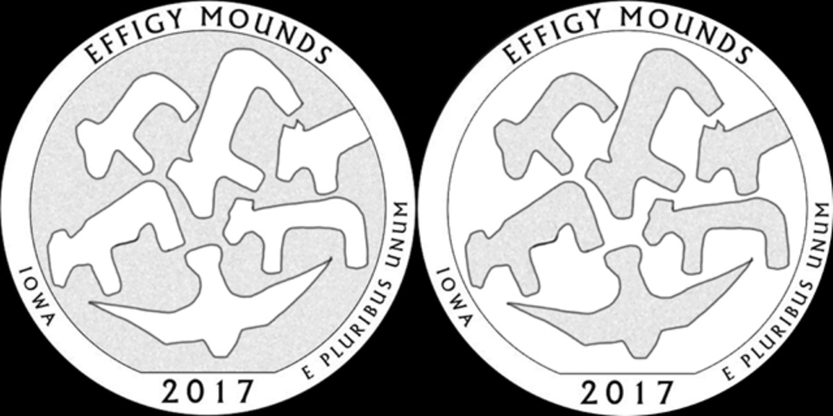 The CFA recommended both designs 13 (left) and 14 (right) for the Effigy Mounds quarter.