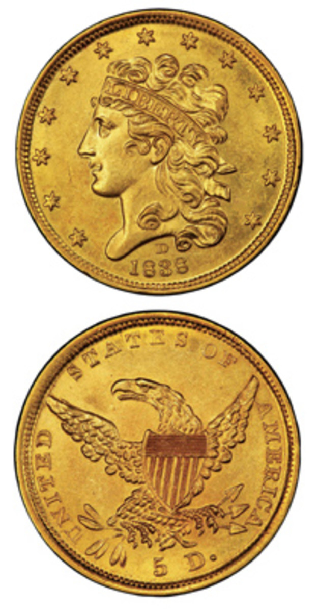 $5 half eagles were the only coins struck at Dahlonega during its first year of operation. It is reported that, during the course of the Dahlonega Mint's existence, more than 1.1 million half eagles were minted at the Georgia location. (All images courtesy Stack's Bowers)