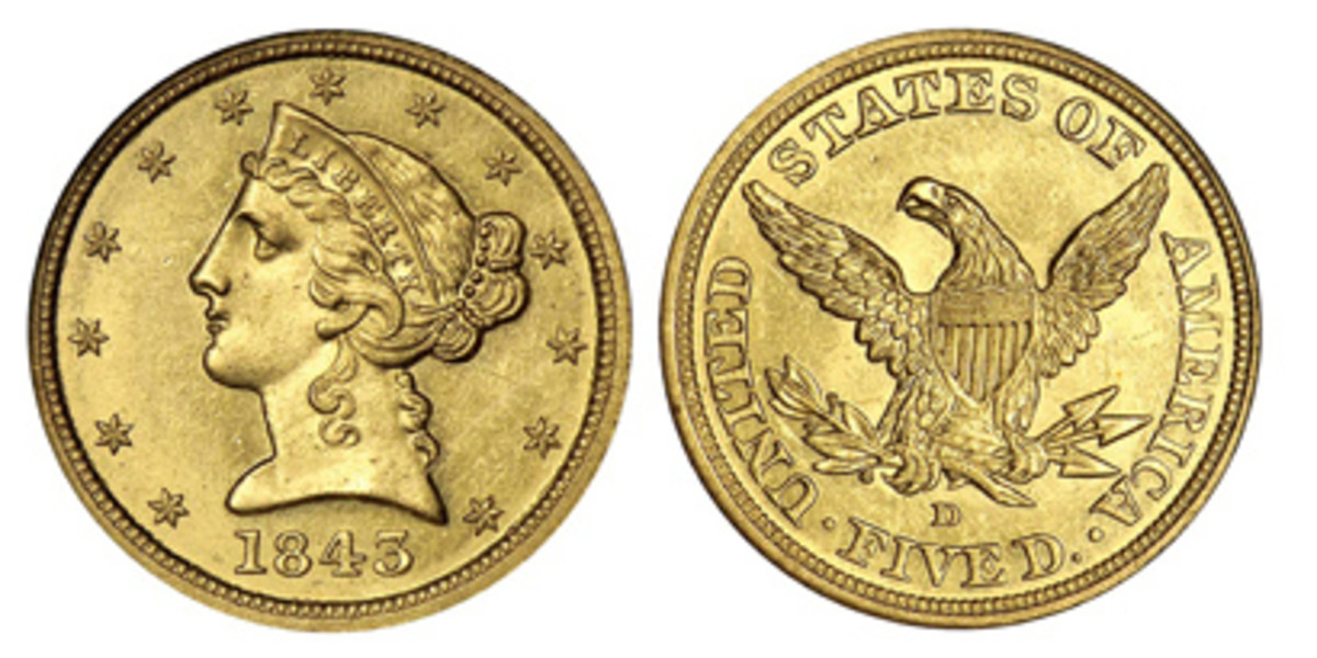 This is the style of $5 half eagle minted at Dahlonega Mint between 1839 and 1861. At the start of the Civil War, the Mint was taken over by the Confederate Army.