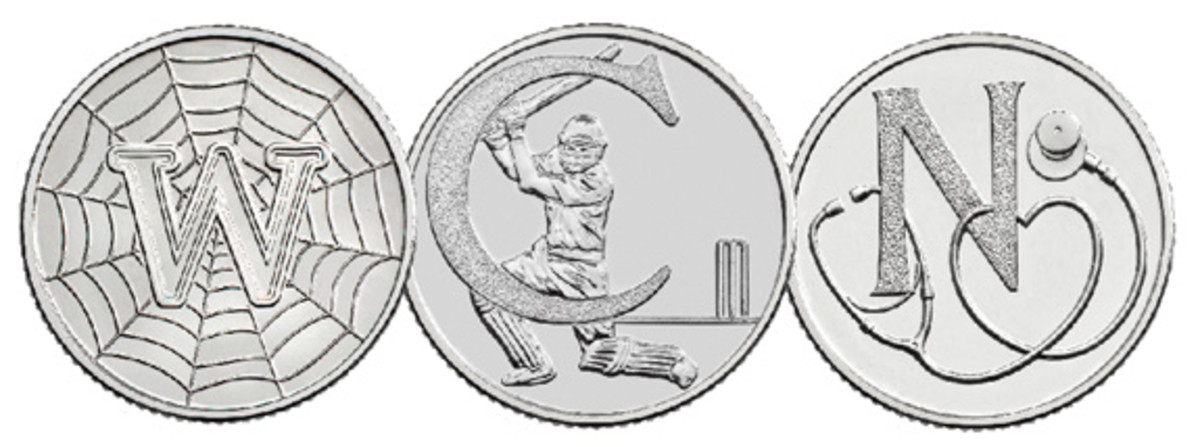"""Reverses of three of Britain's 2019 10-pence alphabetical coins: """"W"""" for World Wide Web, """"C"""" for Cricket, and """"N"""" for National Health Service. (Images courtesy and © The Royal Mint)"""