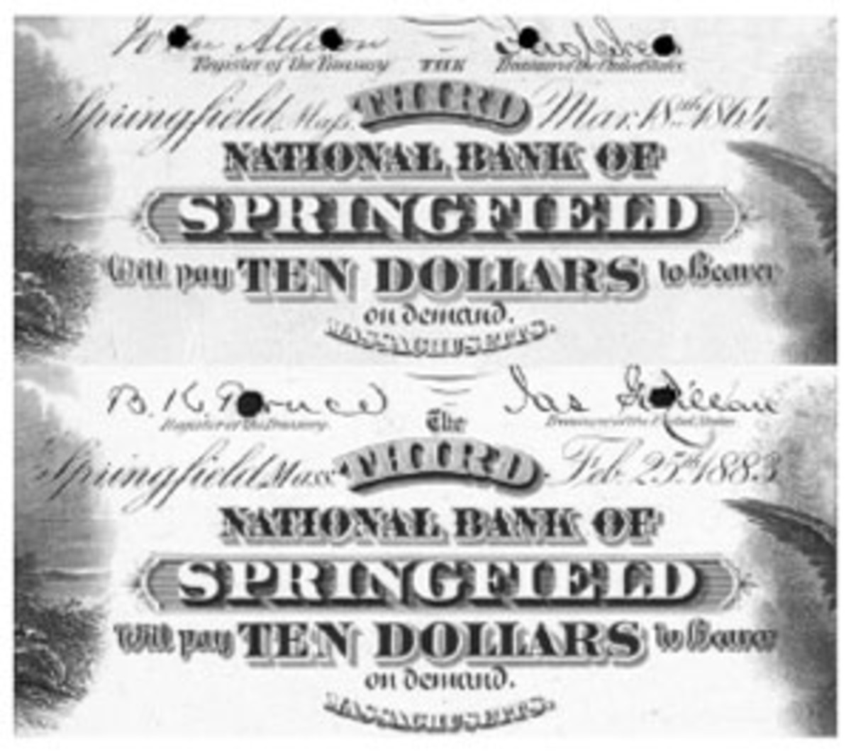 """Maſs"" was used on the Orig/1875 series whereas ""Mass"" appeared on the 1882 series 10-10-10-20 plates for this Springfield bank."