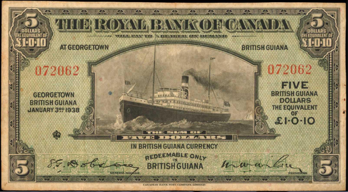 Lot 50319, Royal Bank of Canada-British Guiana, 5 Dollars dated 1938.