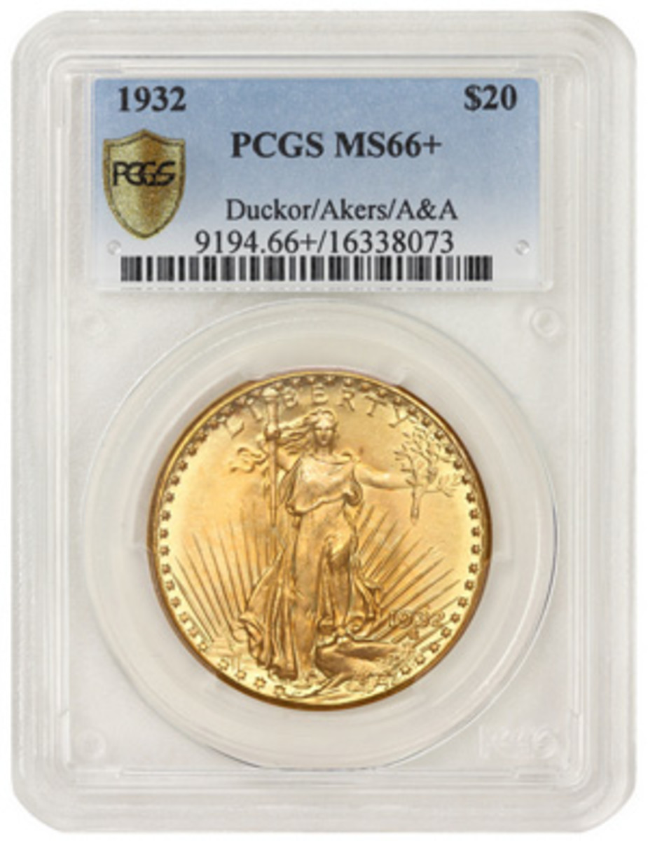 The finest known 1932 Saint-Gaudens double eagle, graded PCGS Gold Shield MS66+ and formerly in the collections of Dr. Steven Duckor and David Akers.