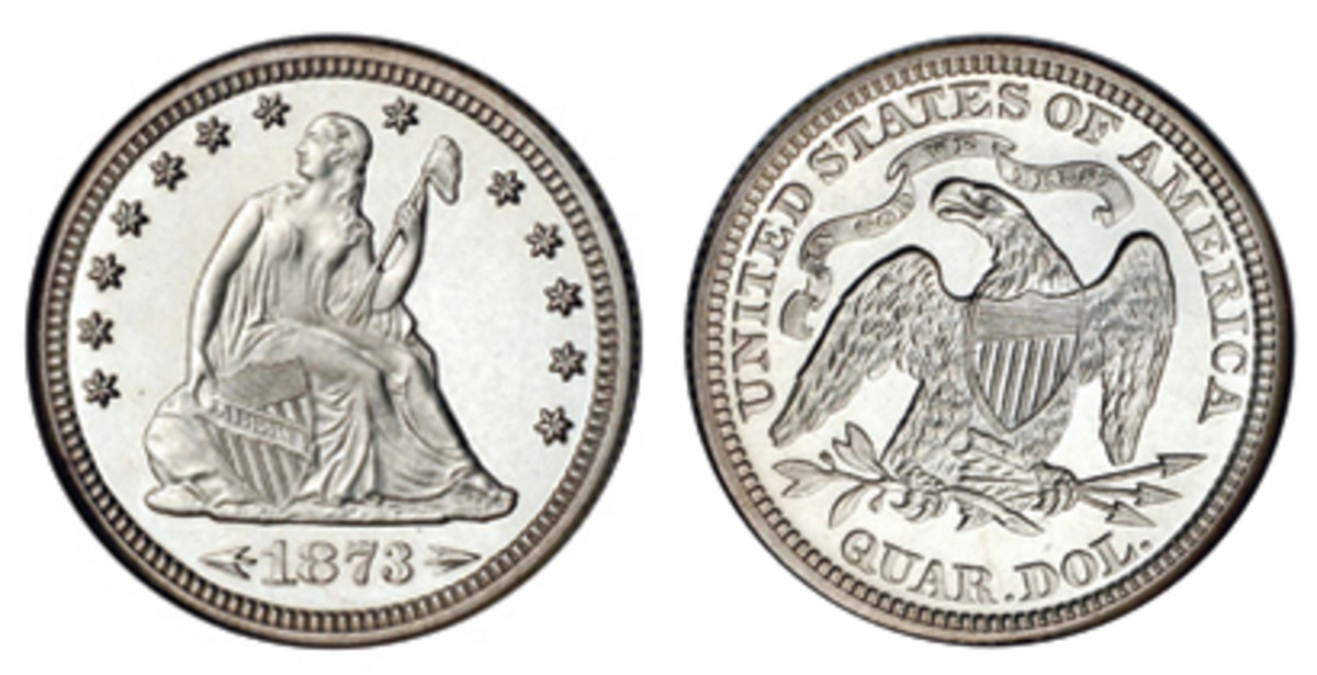 Arrows shown on the 1873 and 1874 Seated quarters were to mark the coin's slight increase in weight.