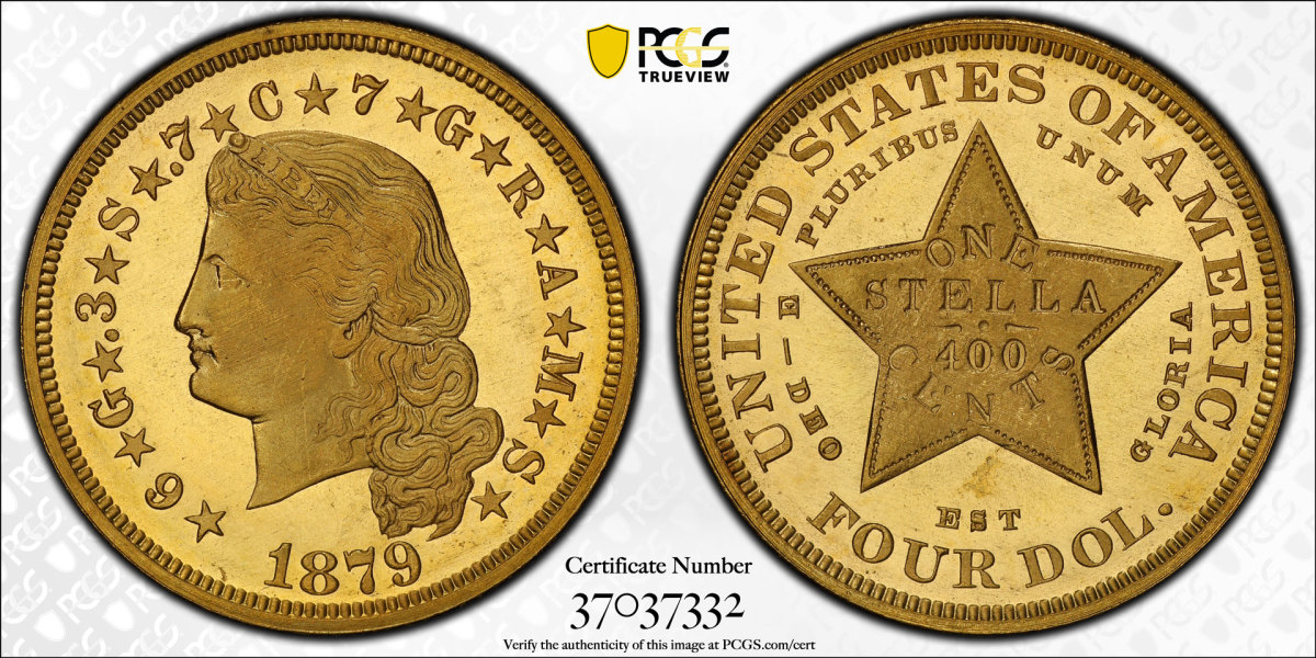 Shown here is the official TrueView of the 1879 Flowing Hair Stella graded by PCGS PR67CAM.  Only 415 were produced in 1879, while just 15 of the 180 were struck. (Image courtesy of PCGS)