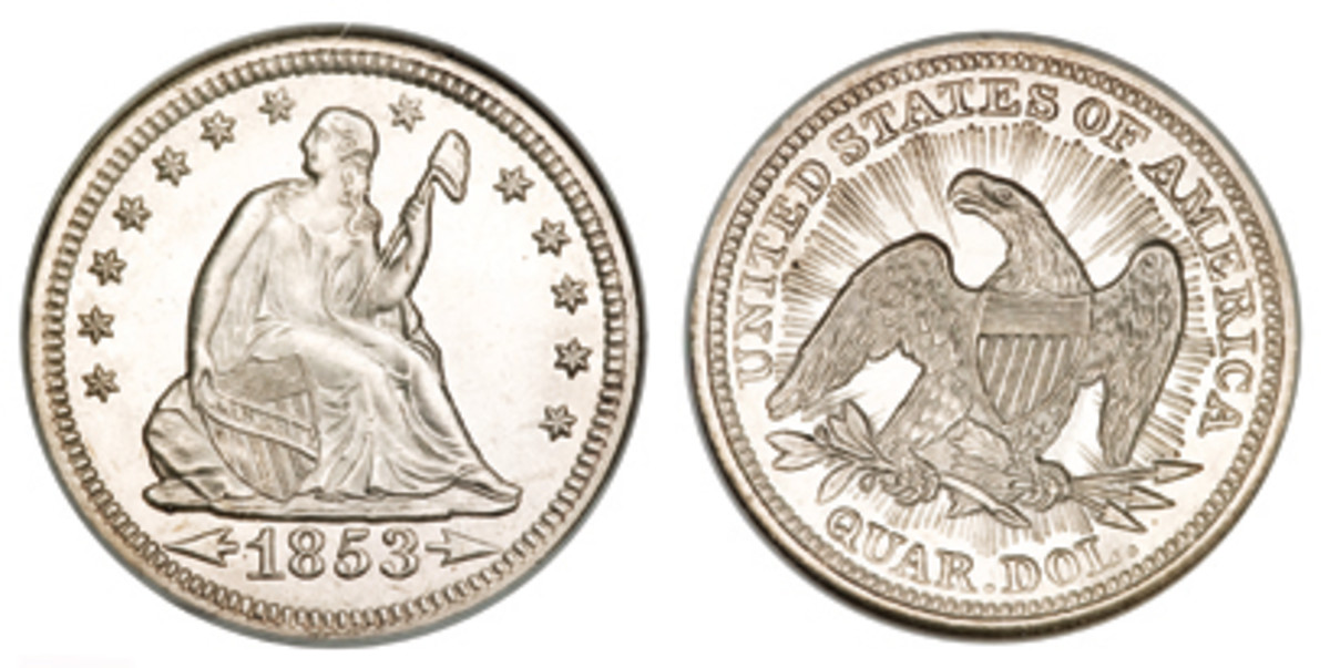 From 1853 arrows were added to the date and rays were placed around the eagle. They marked a slight decrease in the coin's weight.