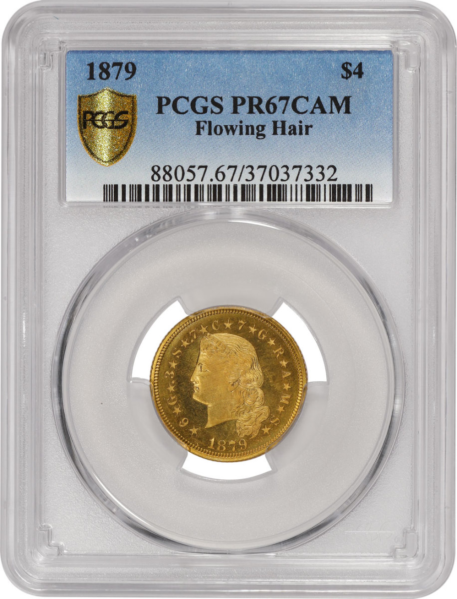 Stella in holder (p.4):  Certified as PCGS PR67CAM, this example of an 1879 Flowing Hair $4 Stellas is one of the finest known. (Image courtesy of PCGS)