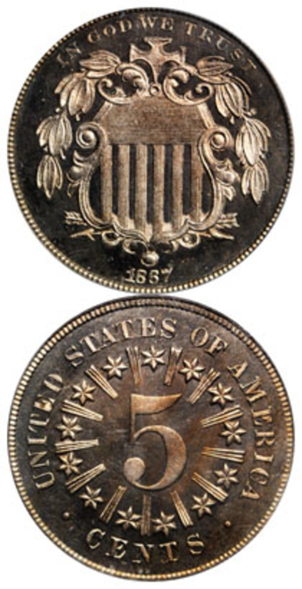 1867 Shield nickel with rays, Proof-66. Existing specimens of this Proof from 1867 number around 60. The design featuring the rays was only used in 1866 and part of 1867. (Image courtesy Stack's Bowers)