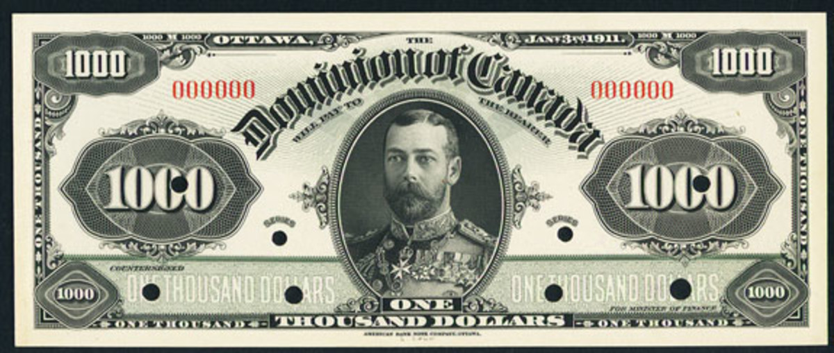 Face proof of rare Dominion of Canada $1000 face proof dated 3 January 1911 (DC-20; P-29). Just two examples of the issued note are known. (Image courtesy and © www.ha.com)