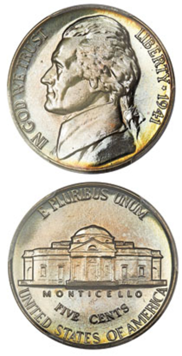 Cameo example of the 1941 proof Jefferson nickel, with pastel toning on obverse and reverse. (Image courtesy Heritage Auctions)