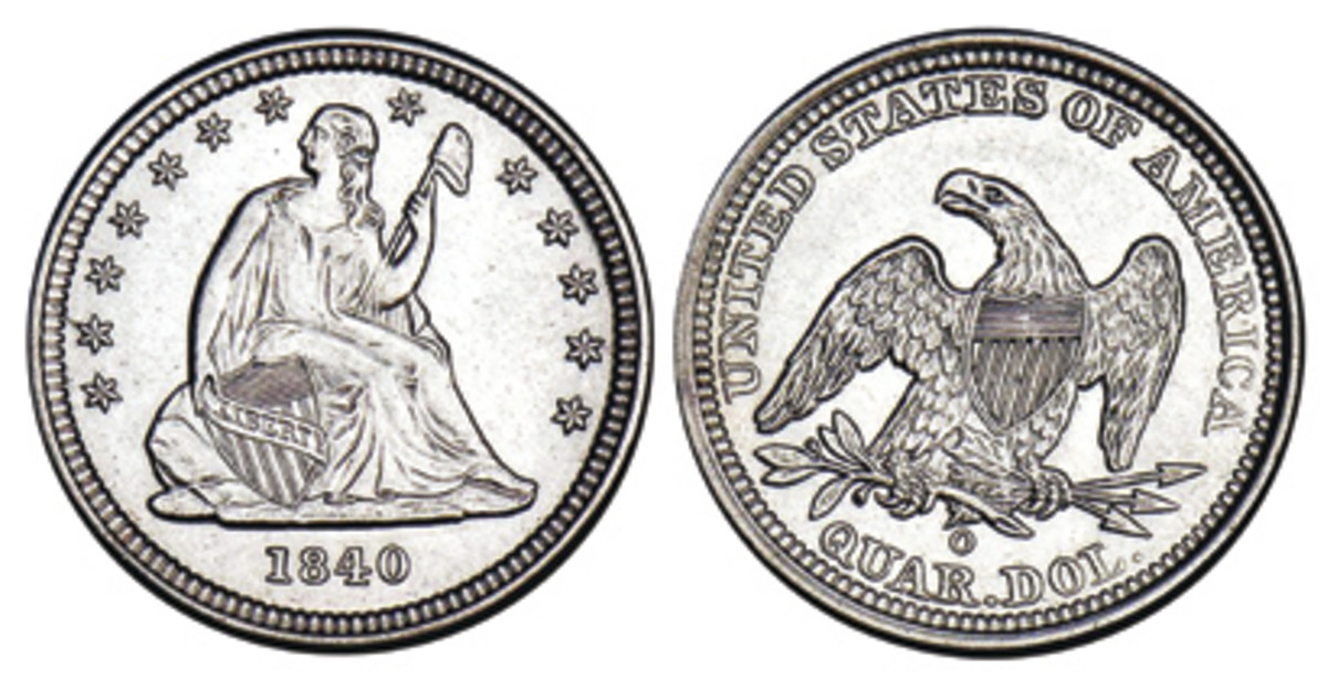 In 1840, drapery was added below Liberty's left elbow.