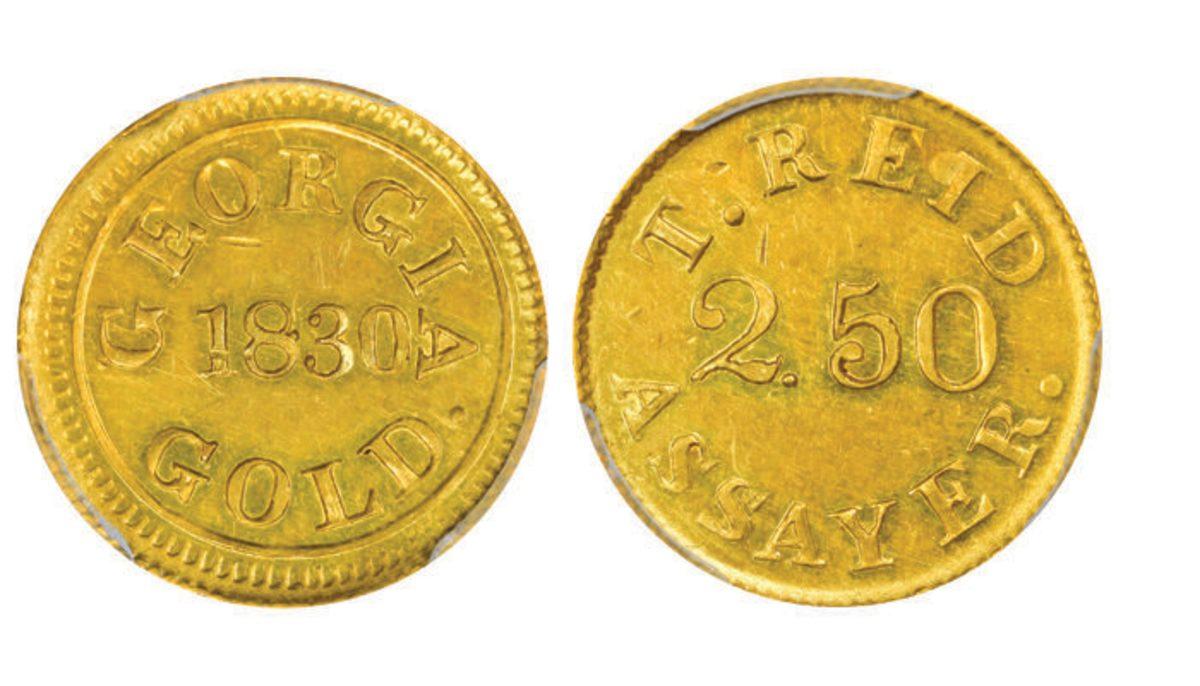Lot 1303, a rare 1830 $2 1/2 Templeton Reid graded PCGS MS-61.