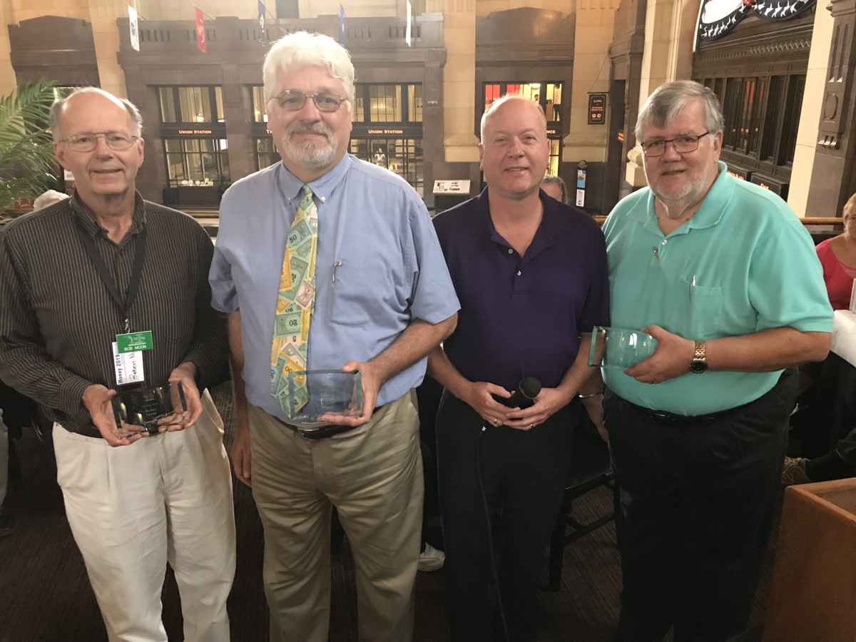 Recipients of the President's Award, for Service to SPMC from left to right Bob Moon, Robert Vandevender,  (President Shawn Hewitt, presenting the awards) and Wendell Wolka.