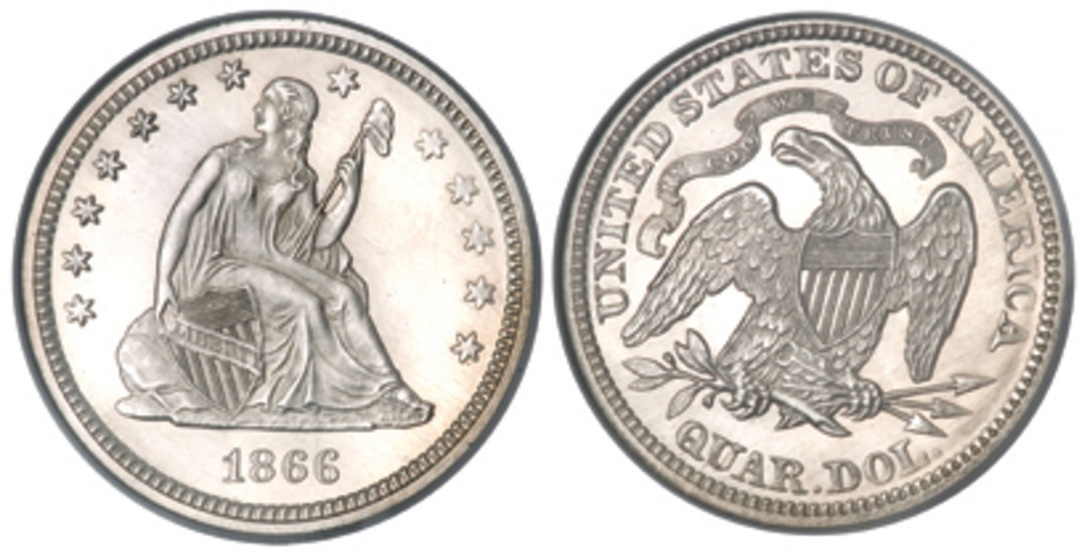 """In 1866 the motto """"In God We Trust"""" was added above the eagle."""