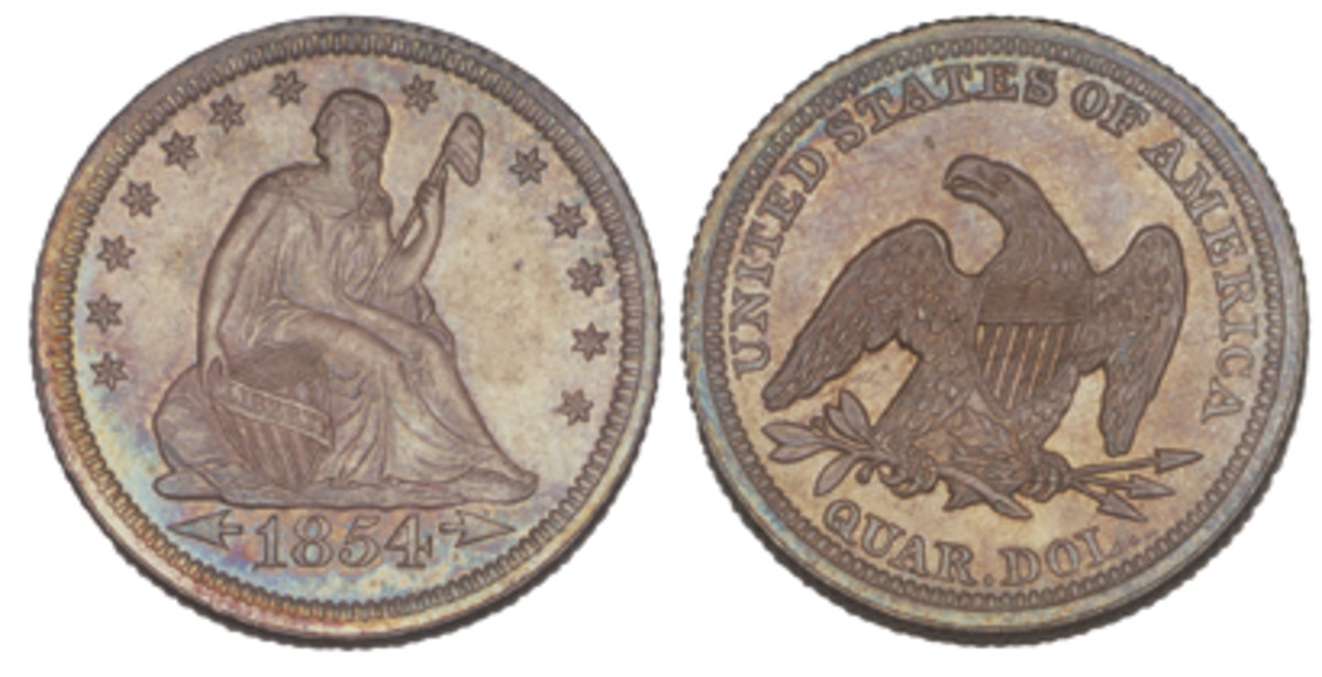 For 1854 and 1855, the arrows were retained but the rays were removed.