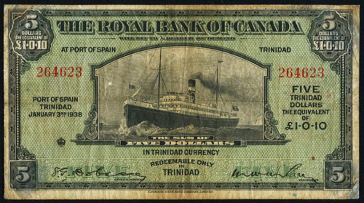 Extremely scarce as an issued note: Royal Bank of Canada Port of Spain, Trinidad, $5 of 3 January 1938 (P-S151b; Ch # 630-68-02). It will go to the block graded PMG Very Fine 20 Net. (Image courtesy and © www.ha.com)