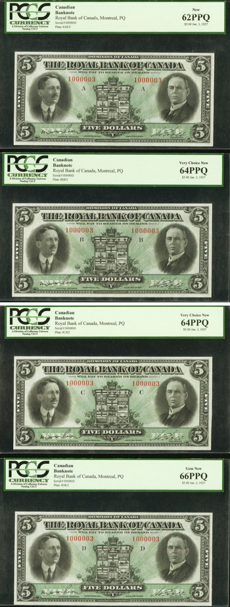 The Royal Bank of Canada $5 plate set, A through D, of 3 January 1927 (P-S1383; Ch. # 630-14-04). All have the same serial 1000003 and, given their top grade, are sure to attract serious auction action at Heritage's FUN sale in January. (Images courtesy and © www.ha.com)
