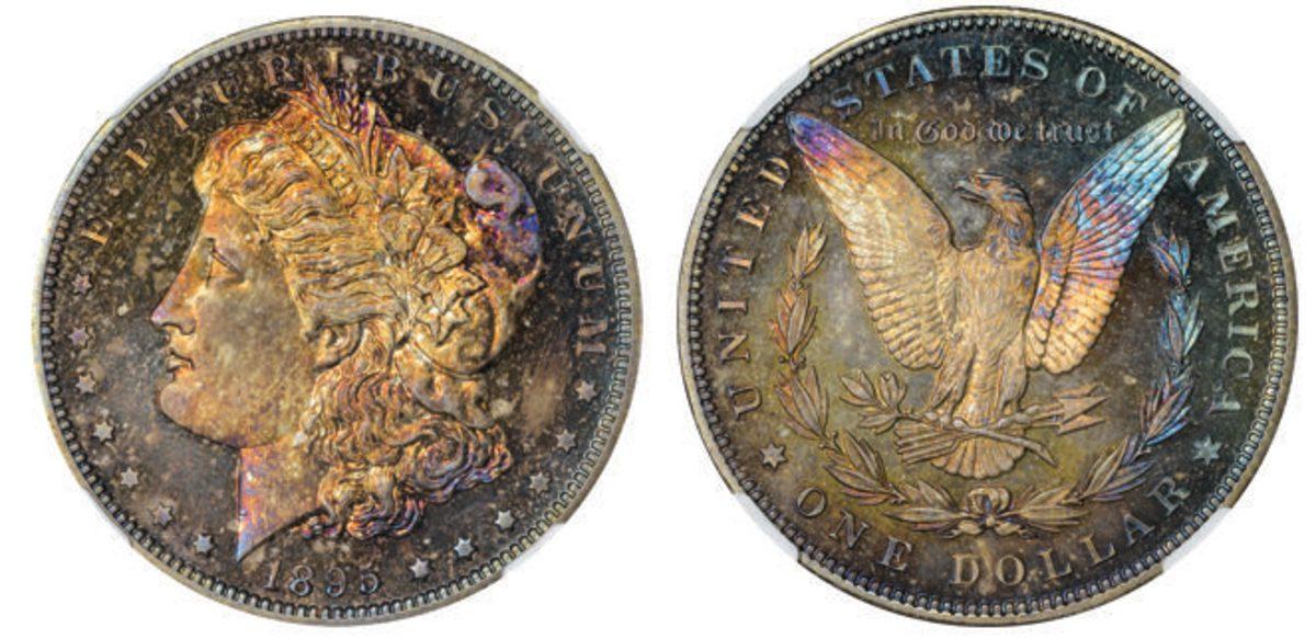 Lot 1199: an 1895 Morgan dollar graded Gem Proof NGC-67.