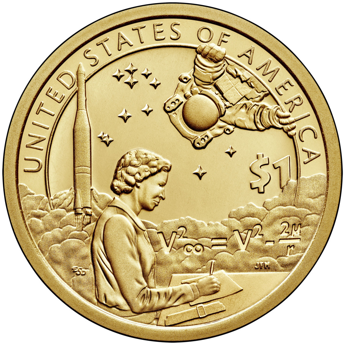 The reverse of the 2019 Native American $1 enhanced uncirculated coin shows Mary Golda Ross and features a background set in Space. (Image courtesy of the U.S. Mint.)