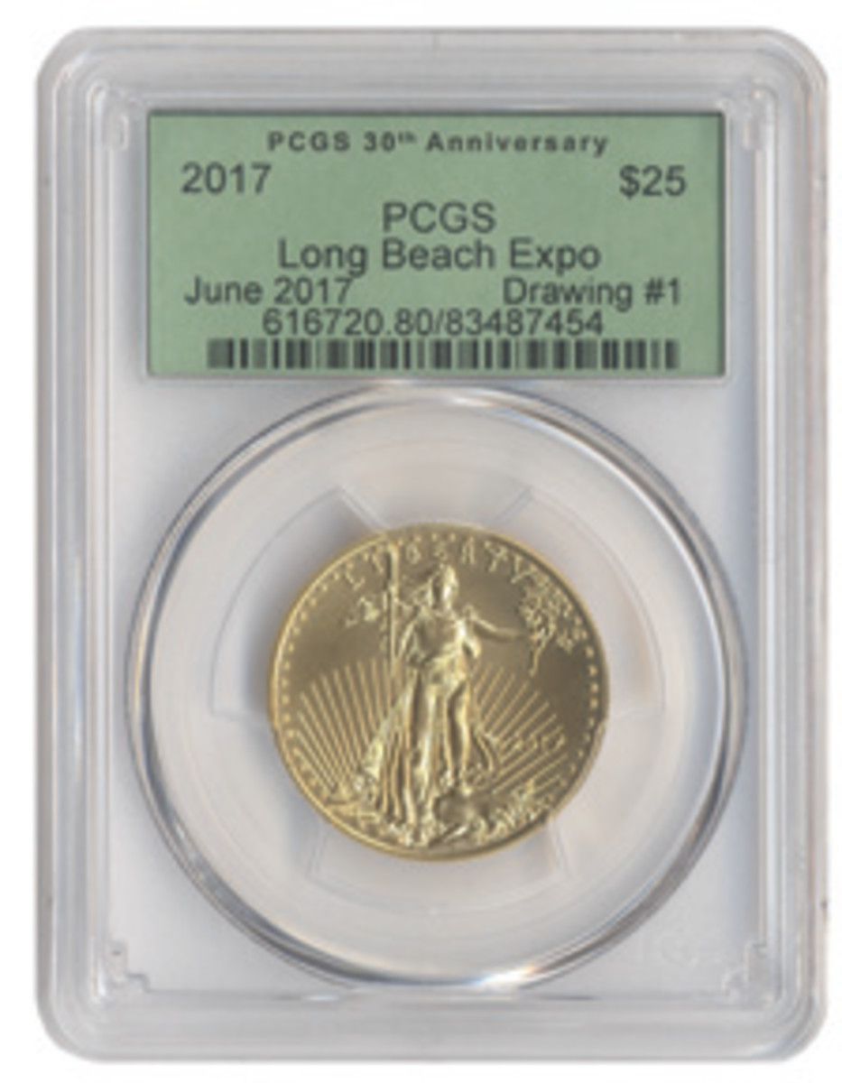 Giveaway Coin: Long Beach Expo visitors have three chances to win a 2017 American Eagle one-half ounce gold coin.