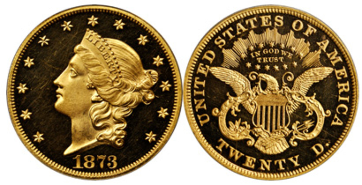 """Another proof coin in the Murray Hill Collection auction is this """"Close 3"""" 1873 double eagle."""