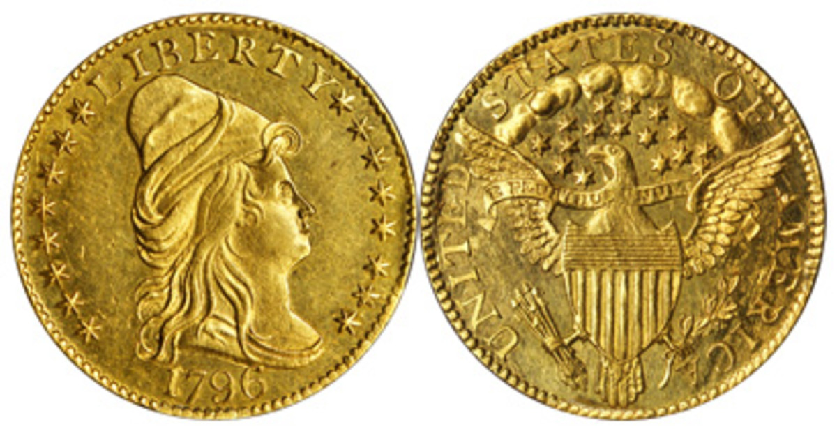 A 1796 gold $2.50 with stars on the obverse will be among the highlights of the earliest federal gold issues.