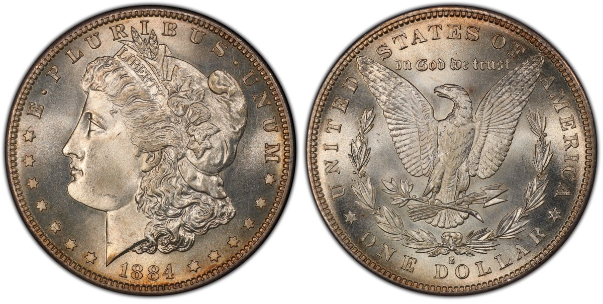 Previously part of the famous Jack Lee Collection, this 1884-S Morgan graded PCGS MS67 CAC is part of The Illinois Set, now the all-time finest Morgan dollars in five PCGS Set Registry categories. (Photo courtesy of Professional Coin Grading Service)