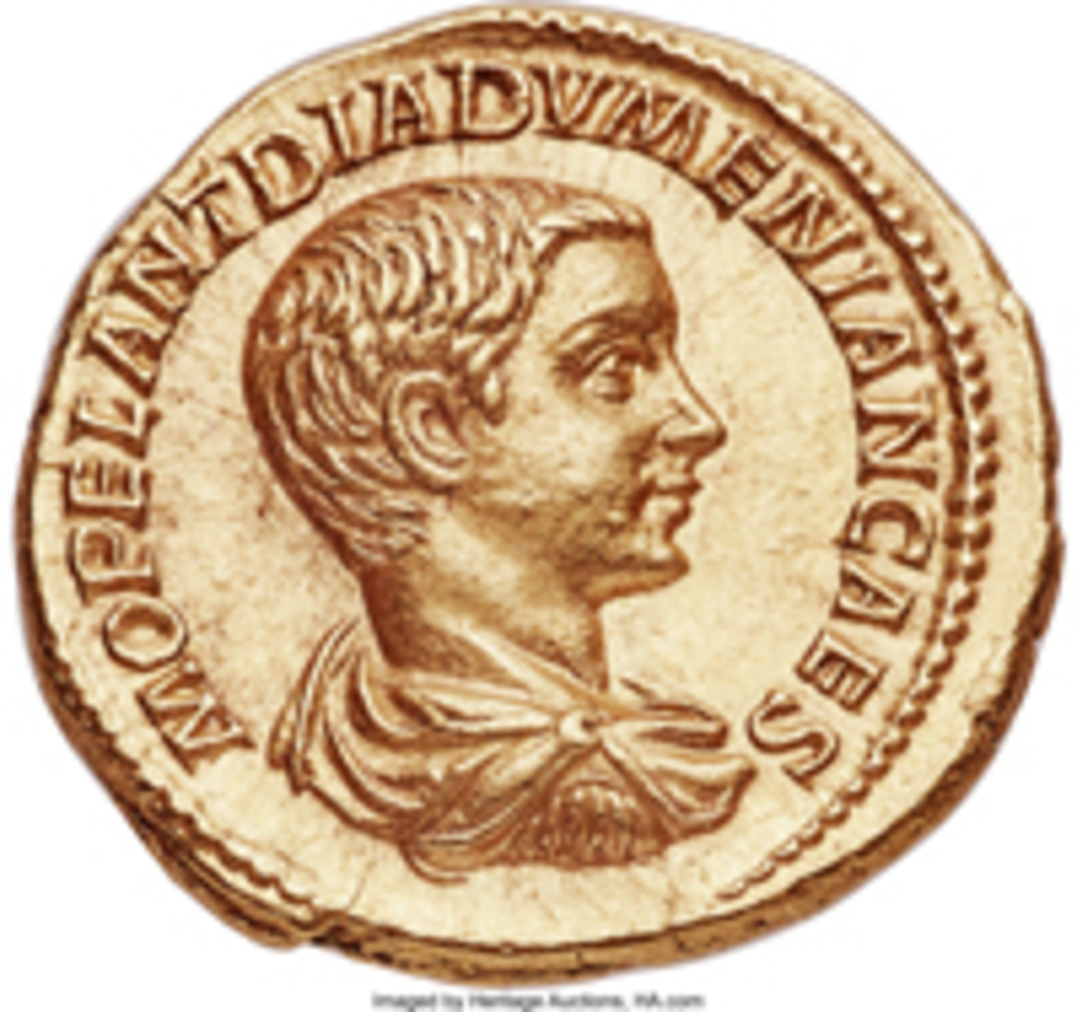 Obverse of the aureus of Emperor Diadumenian struck in Rome 218 CE (RIC IV, Part II, 115. Calicó 2984a) that sold for $336,000 accompanied by an NGC photo-certificate graded Choice AU Star 5/5 – 4/5. (Image courtesy www.ha.com)
