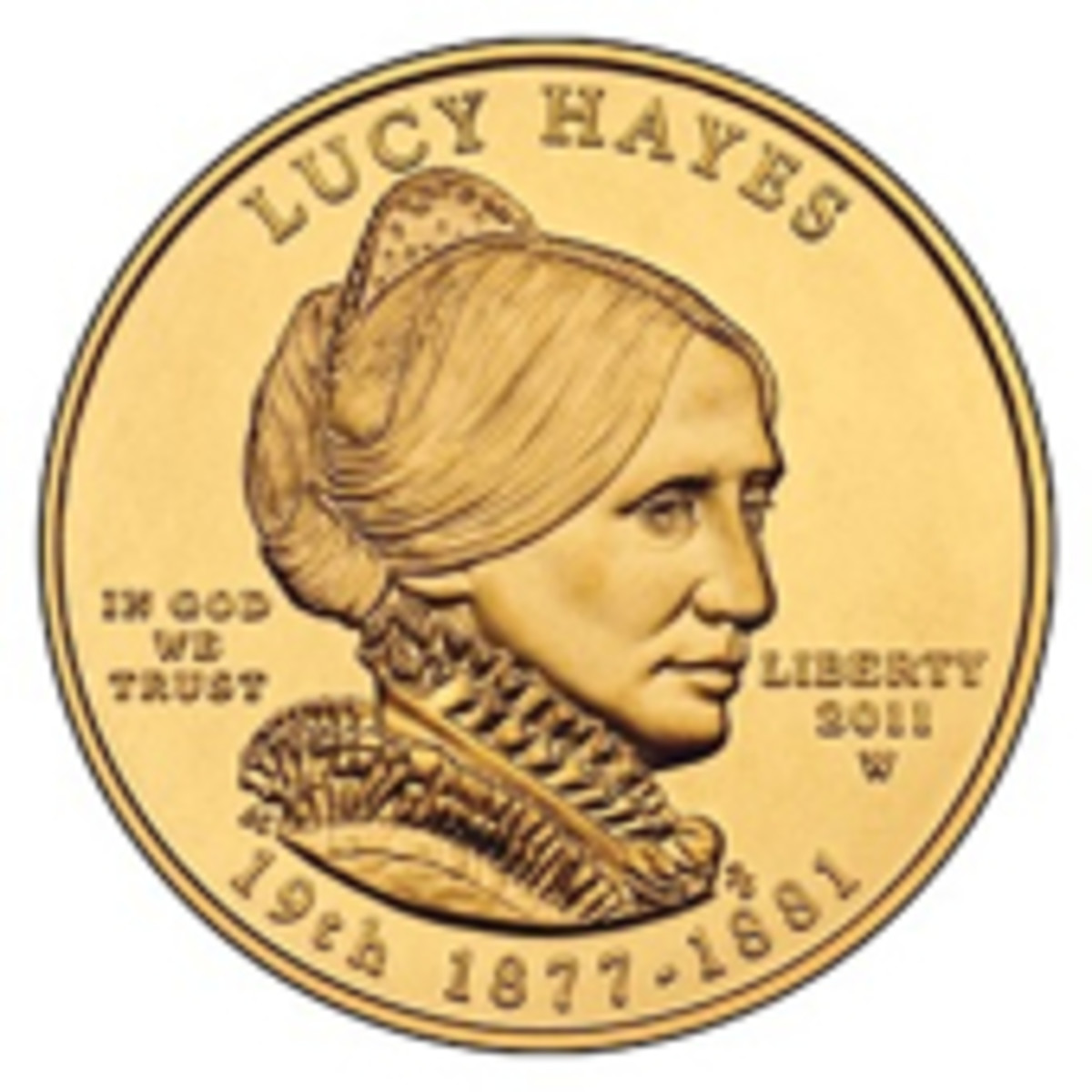 Obverse of the 2011-W Lucy Hayes First Spouse uncirculated gold coin