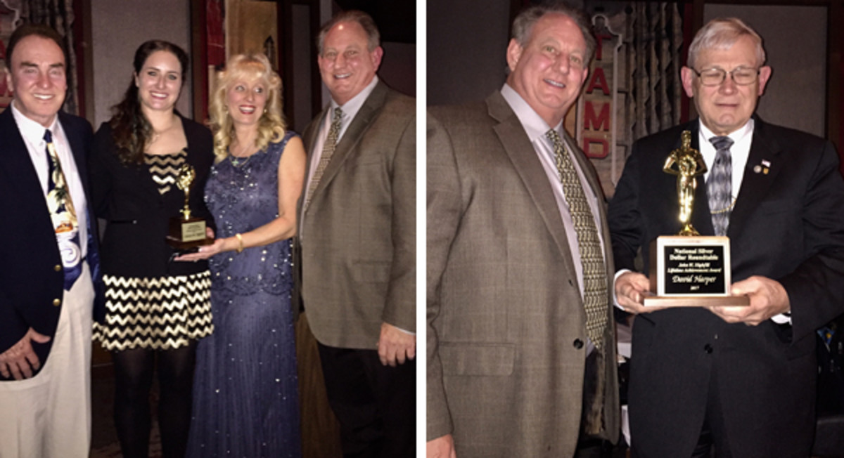 At left, from left to right, John Highfill congratulates Chelsea Highfill on her Woman of the Year Award as do Marlene Highfill and Jeff Wuller. At right, Clifford Mishler accepts a Lifetime Achievement Award for Dave Harper.