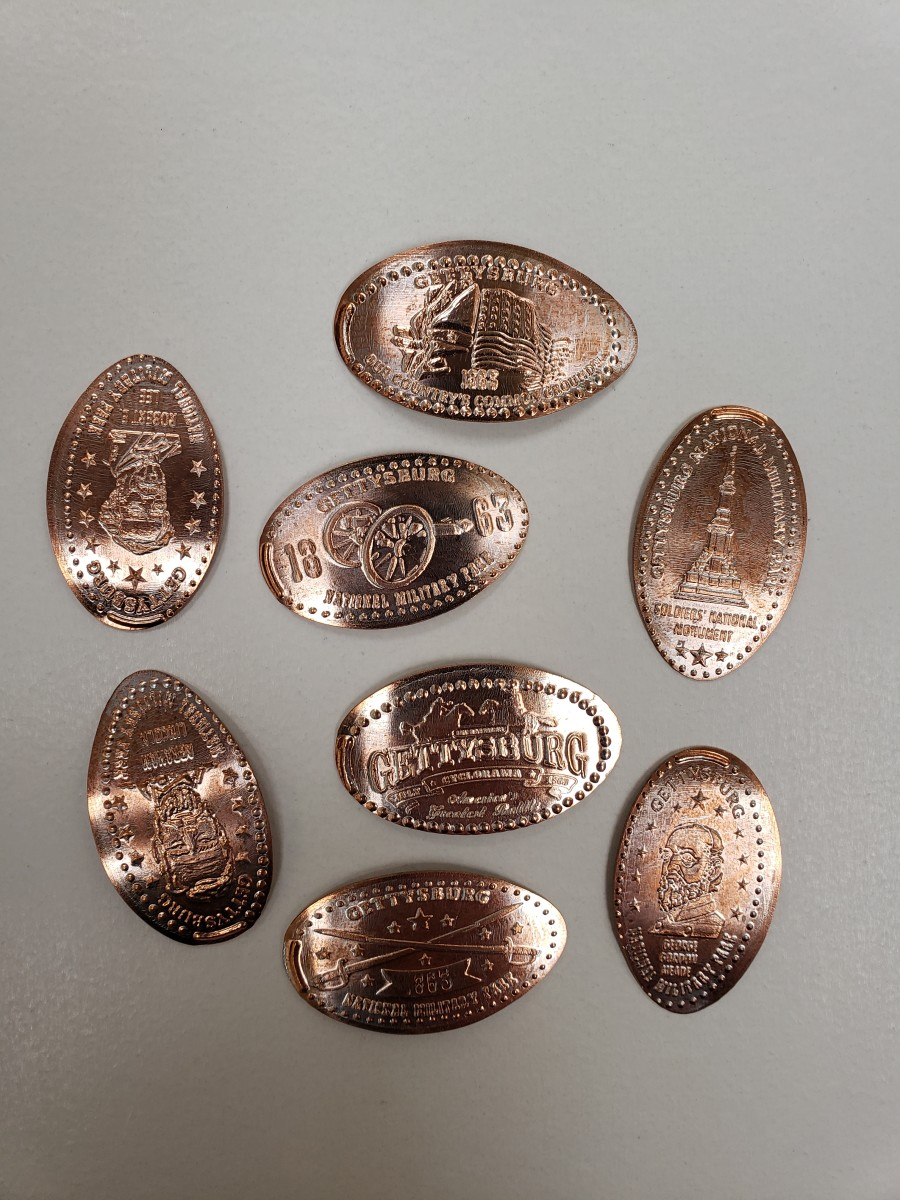 The souvenir collection of eight elongated pennies from Gettysburg, Pa.