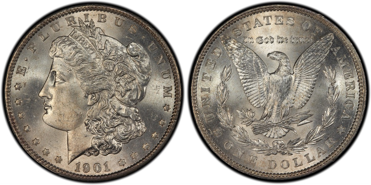 The single finest known 1901 Philadelphia Mint Morgan dollar, graded PCGS MS66, is one of the many highlights of the previously unreported Illinois Set that now is ranked all-time finest in five categories in the PCGS Set Registry. (Photo courtesy of Professional Coin Grading Service)