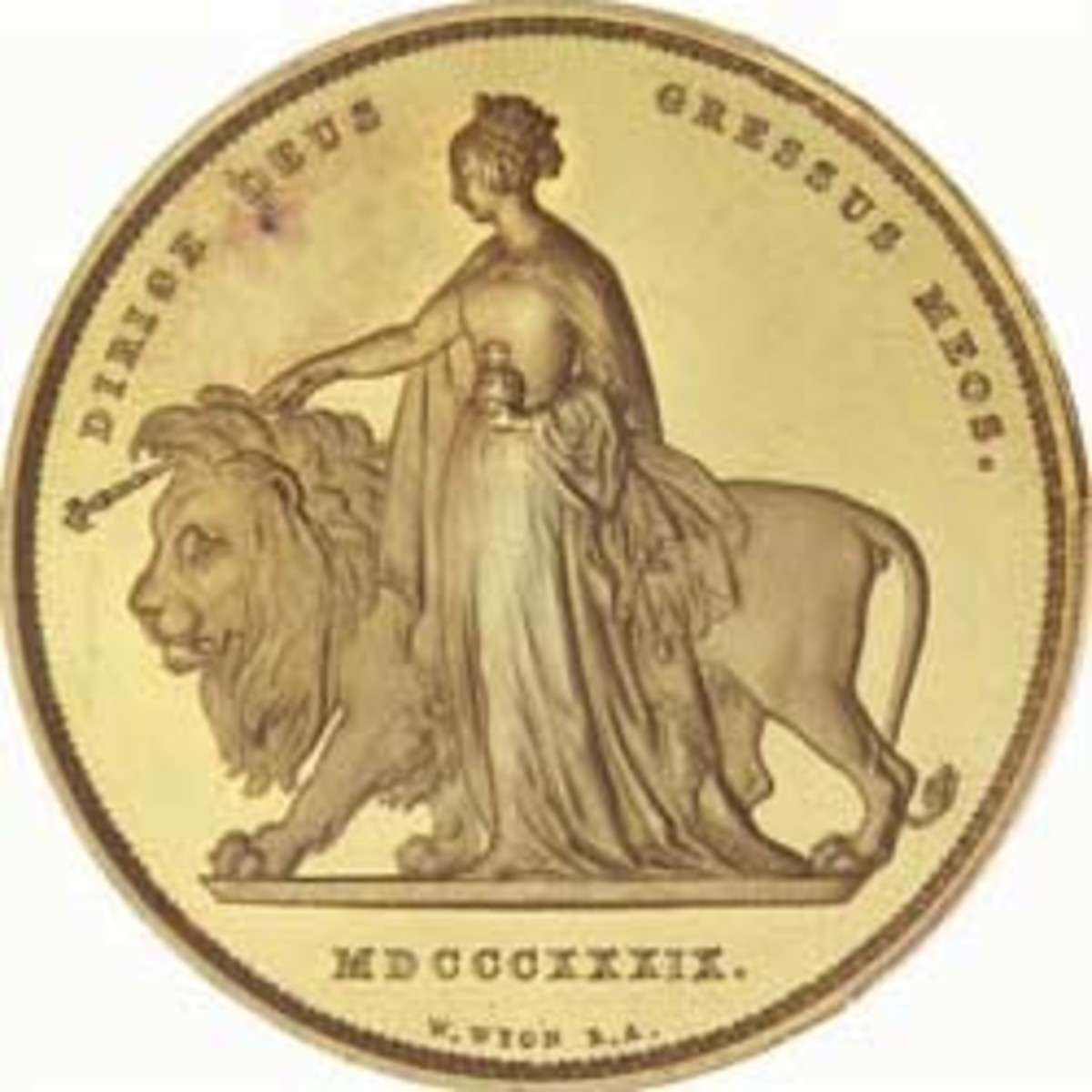 Reverse of PCGS PR62DCAM Una & the Lion 5 pounds gold proof of 1837 (KM-742; S-3851) that went for $351,102, the second-highest price paid for any single Una and the Lion coin. (Image courtesy and © Spink)