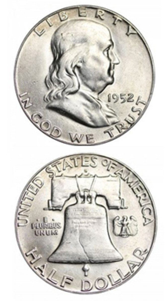 A combination of factors (including not being saved and becoming subject to melting) makes 1952-S Franklin half dollars not readily available in any quantity, especially in top grade. (Images courtesy www.usacoinbook.com)