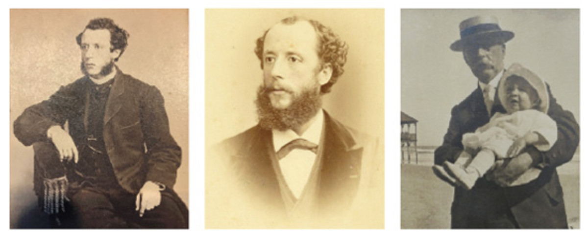 Young Charles E. Barber (left), Barber with receding hairline (center), and Barber at the Jersey shore with his only grandchild (right).