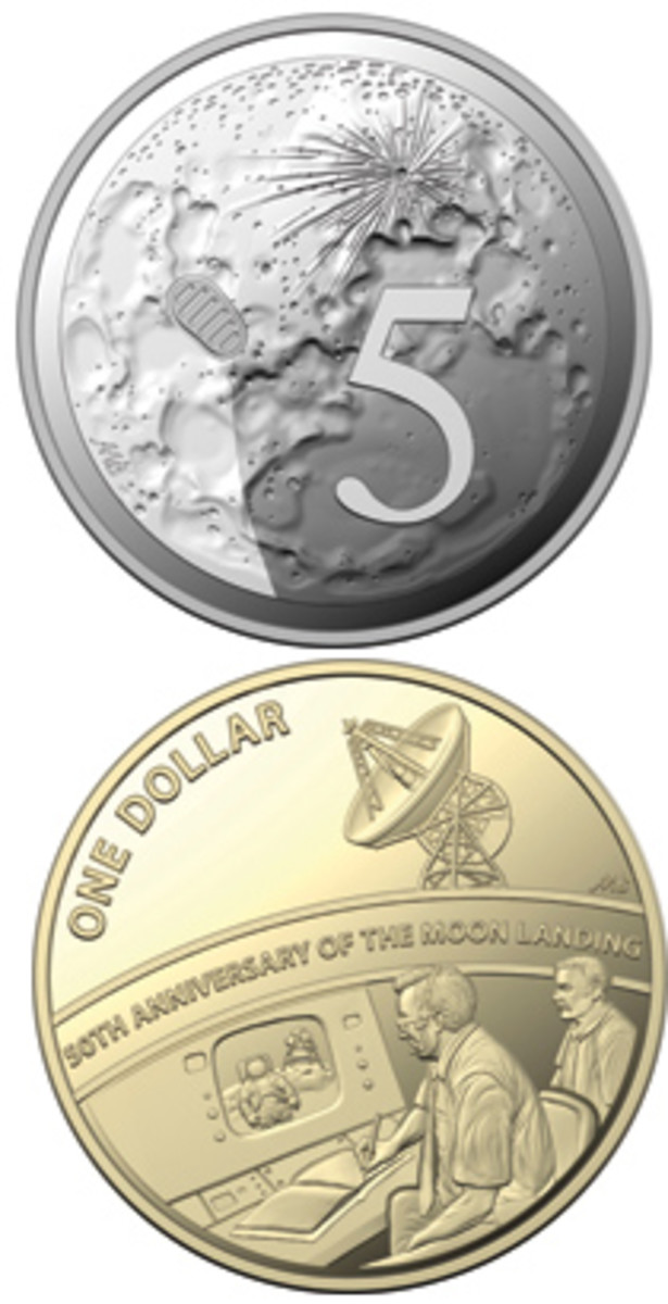"""Reverse designs of the commemorative 5 cents and dollar coins from the 2019 proof sets showing the landing site of the Lunar Lander """"Eagle"""" and the control room of Australia's Honeysuckle Creek Tracking Station that broadcast the 1969 first step to the world. (Images courtesy & © RAM)"""