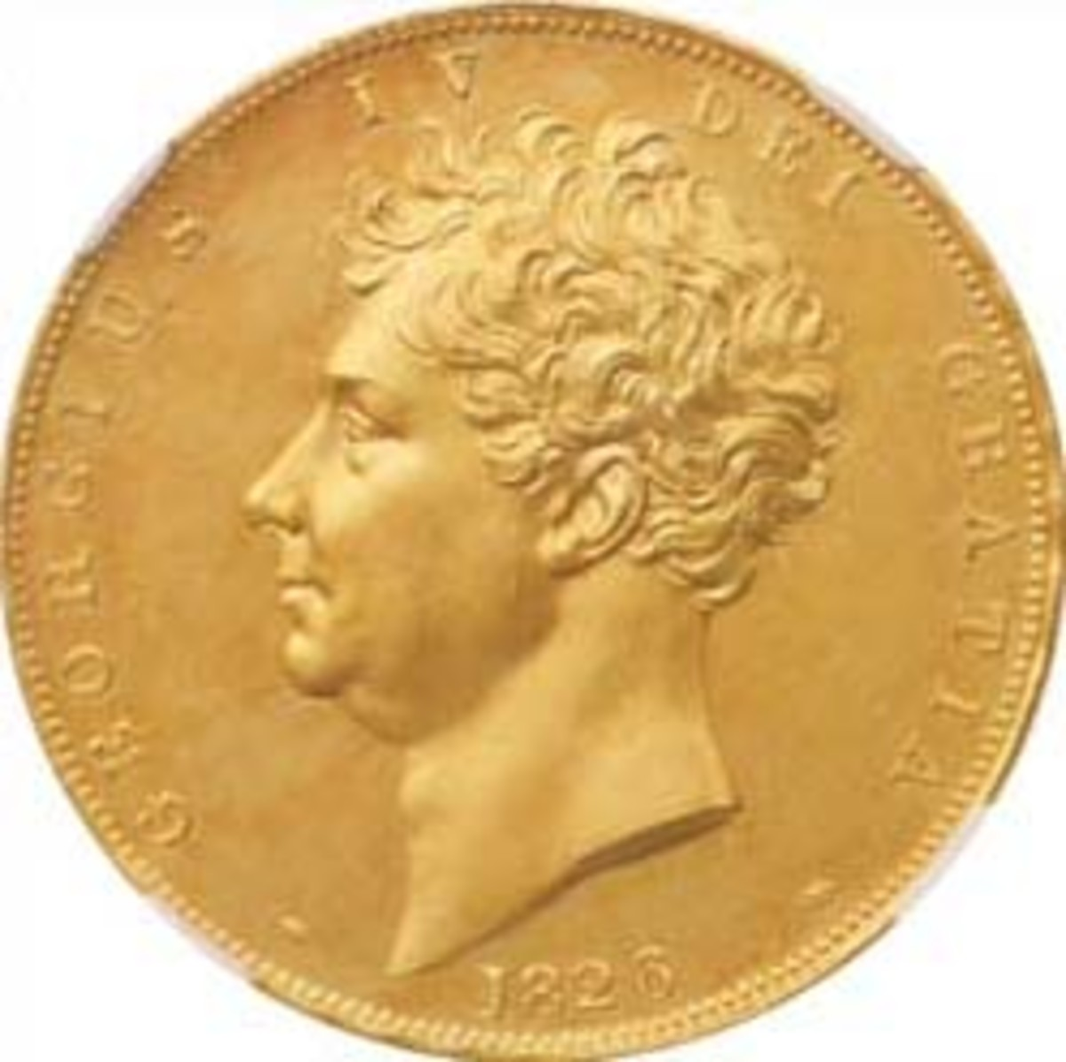 Obverse of George IV gold 5 pounds of 1826 (KM-702, S-3797) that managed an eye-watering $153,607 in NGC PF63 CAMEO. (Image courtesy and © Spink)