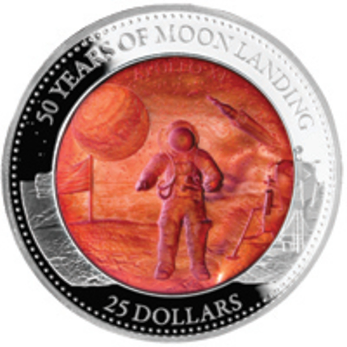 Reverse of Solomon Islands $25 proof commemorating the 50th anniversary of the first Moon landing. (Image courtesy Downies)