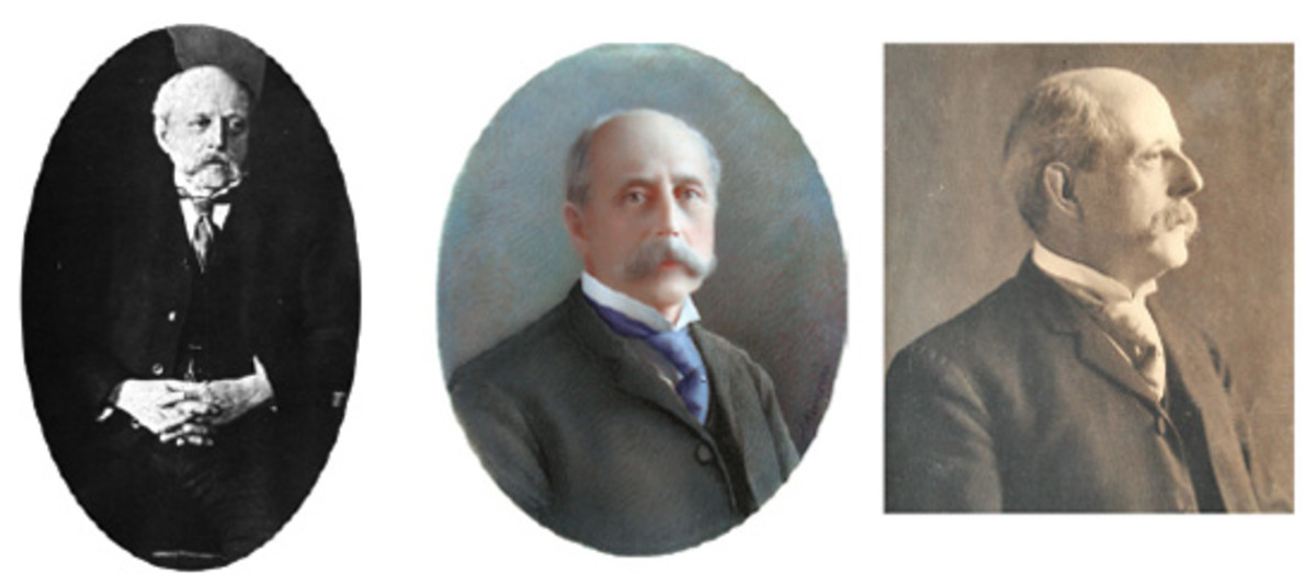 The oft-seen photo of Chief Mint Engraver Charles E. Barber, left, is now joined by several other images thanks to the research of John Frost and the cooperation of Barber's descendants. Two of the seven are shown at center and right.