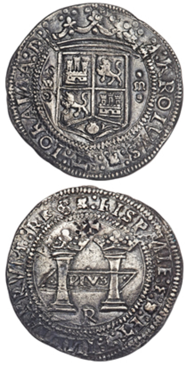 Obverse and reverse of the Mexico City Mint Carlos & Joanna 8 reales of 1538 that realized $528,000 at Heritage Auctions' Platinum Night Sale during ANA's World's Fair of Money in August. The sale catalog points out that this and other early pieces of the Mexico City Mint were produced by native New World workers. This is demonstrated by the illiteracy of the legends that are also crudely blundered in numerous places. They often show double-striking and frequent breaks in keeping with reports that such pieces were very difficult to mint. (Images courtesy www.ha.com)
